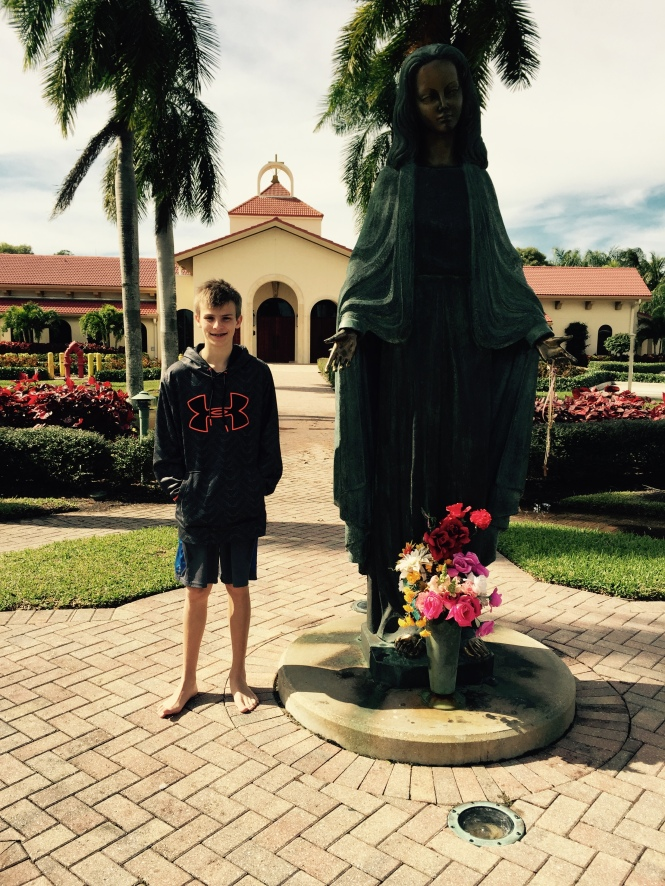 We stopped at the church where Hunter was baptized (St. Leo's in Bonita Springs). He is preparing to make his Confirmation later this spring, so it seemed appropriate to pay a visit to where his life a Christian began!