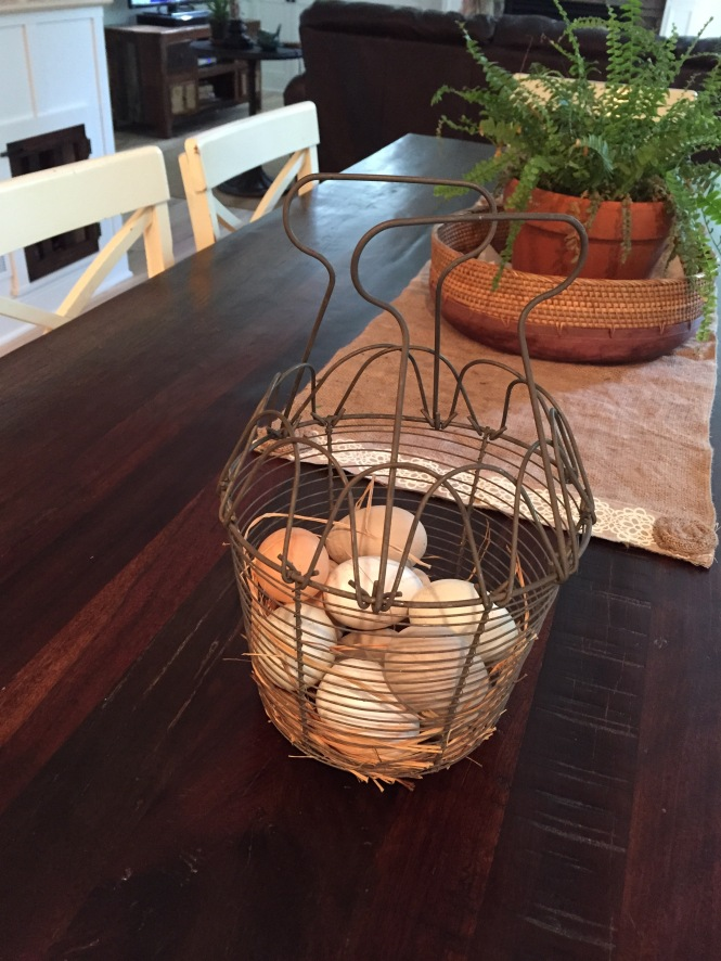 Awesome antique egg basket (These eggs are fake)