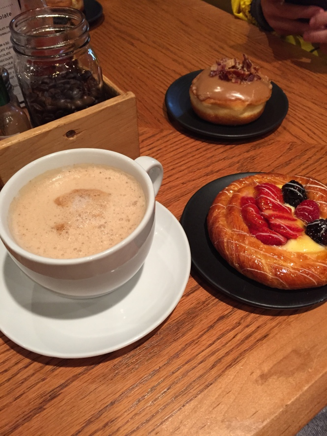 My morning regular...soy cappuccino and the best berry tart I've ever had...yum!